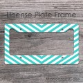 Light turquoise arrow chevron customized license frame